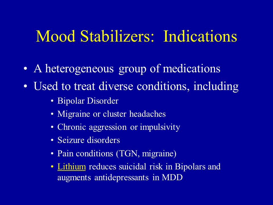 Mood Stabilizers: Indications