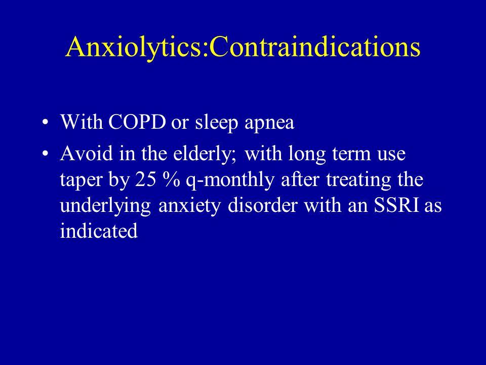 Anxiolytics:Contraindications