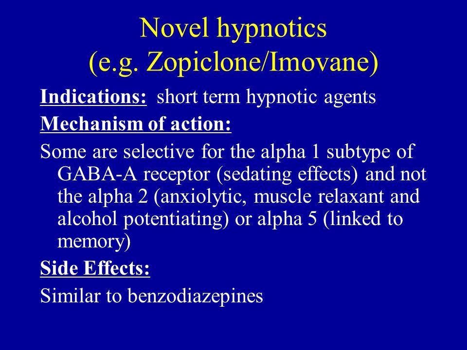 Novel hypnotics (e.g. Zopiclone/Imovane)