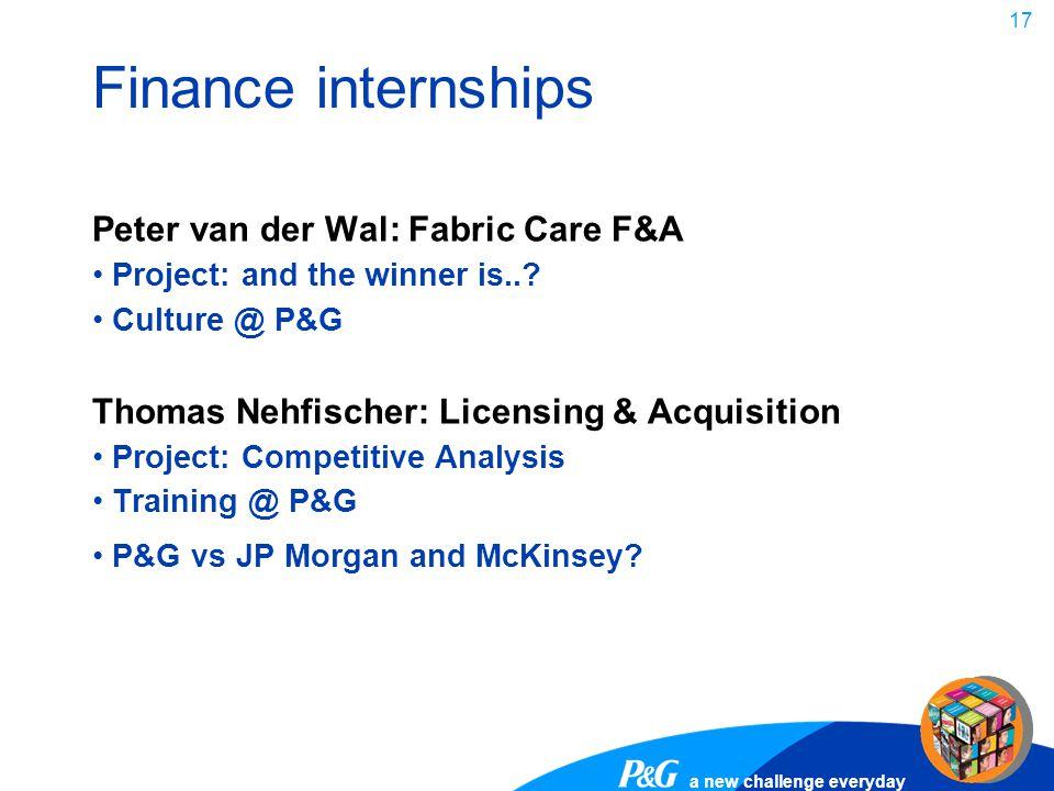 Finance internships Peter van der Wal: Fabric Care F&A