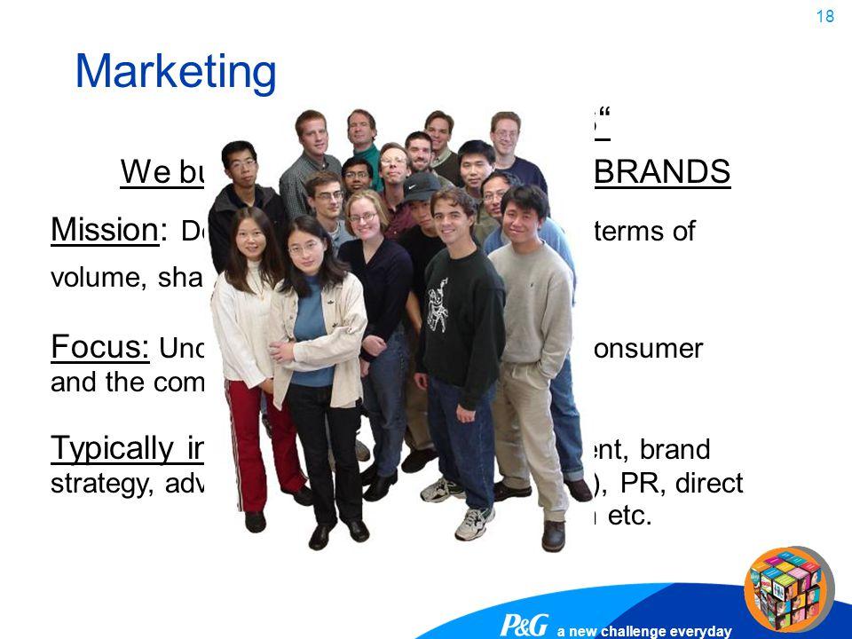 Marketing WE BUILD BRANDS We build individuals that BUILD BRANDS