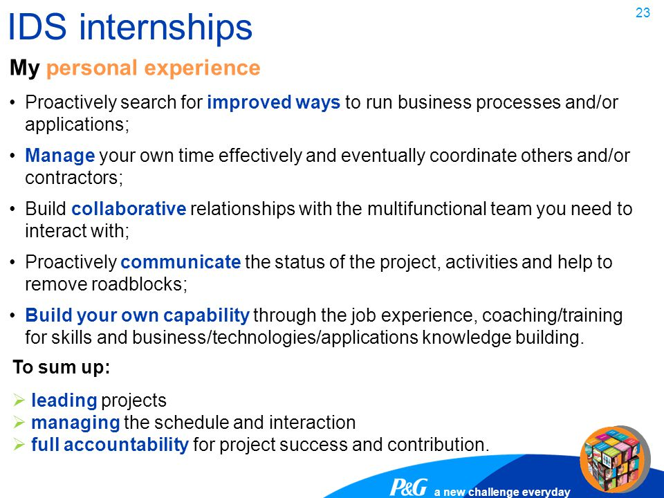 IDS internships My personal experience