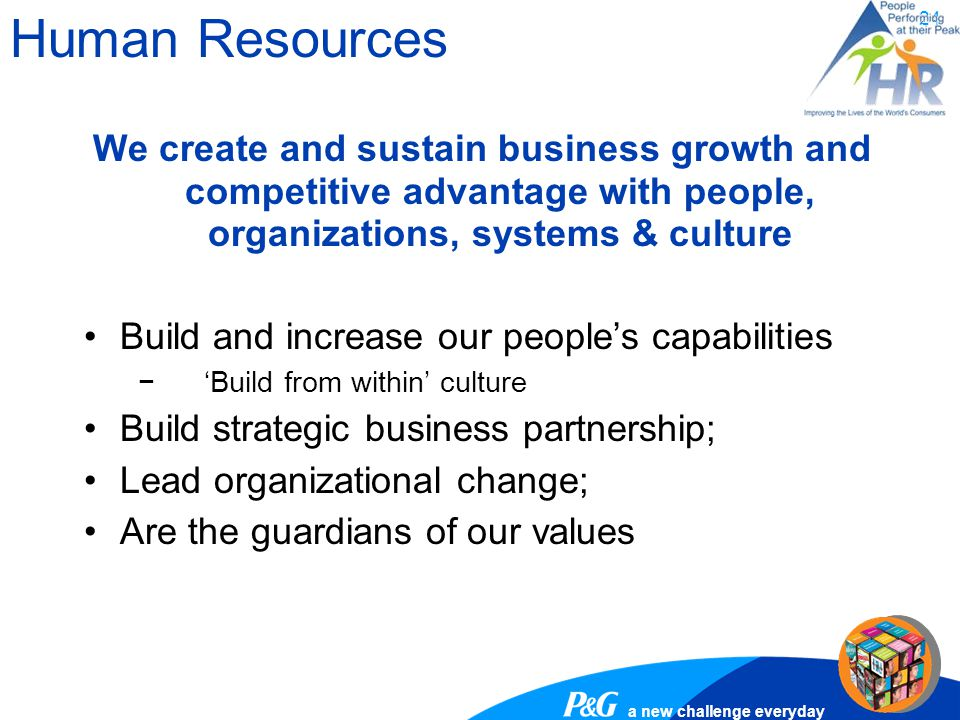 Human Resources We create and sustain business growth and competitive advantage with people, organizations, systems & culture.