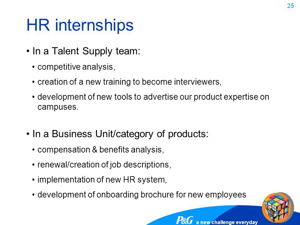HR internships In a Talent Supply team: