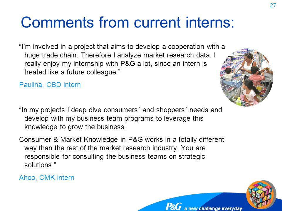 Comments from current interns: