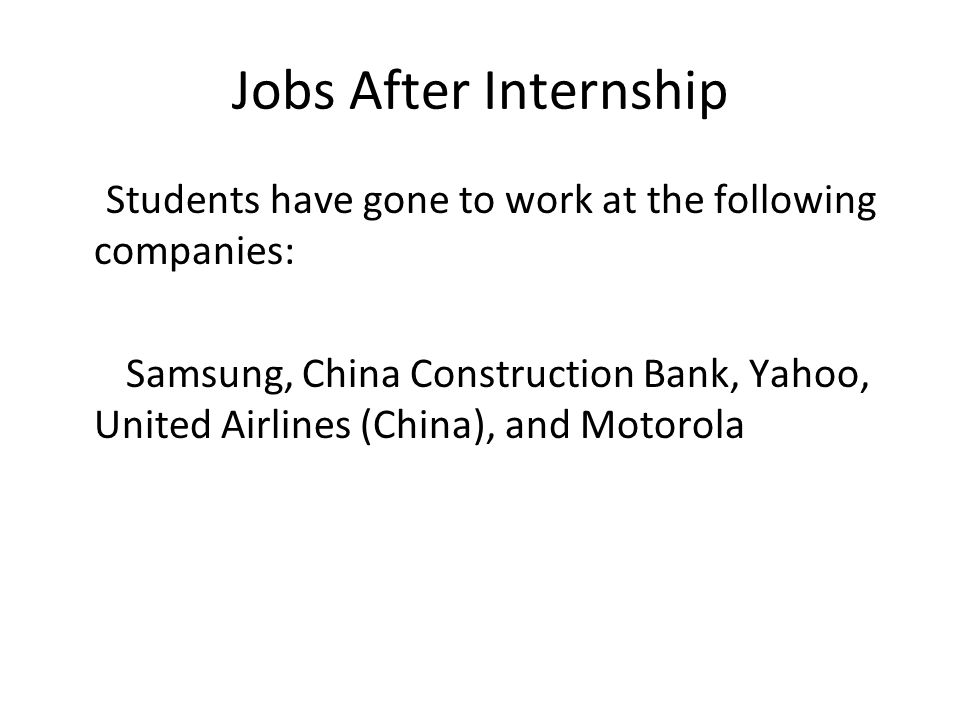 Jobs After Internship