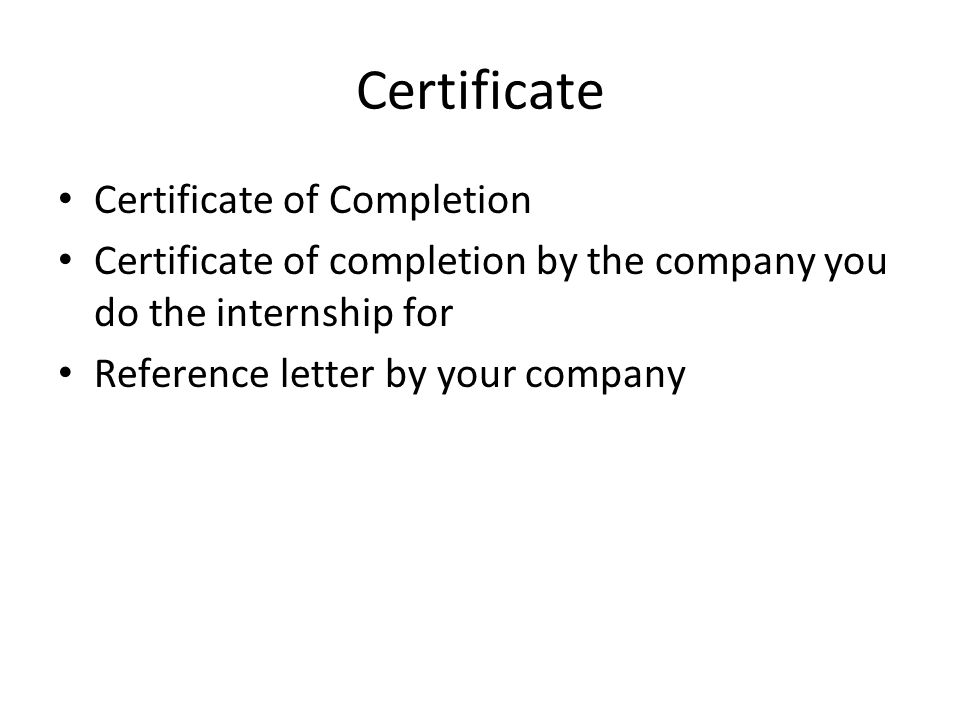 Certificate Certificate of Completion