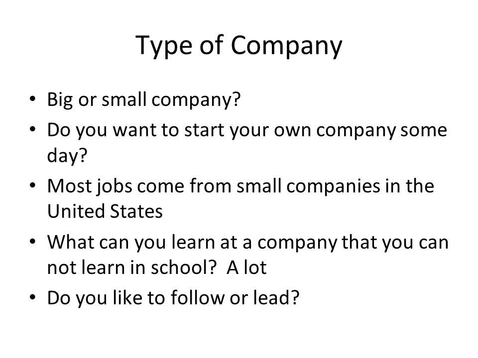 Type of Company Big or small company