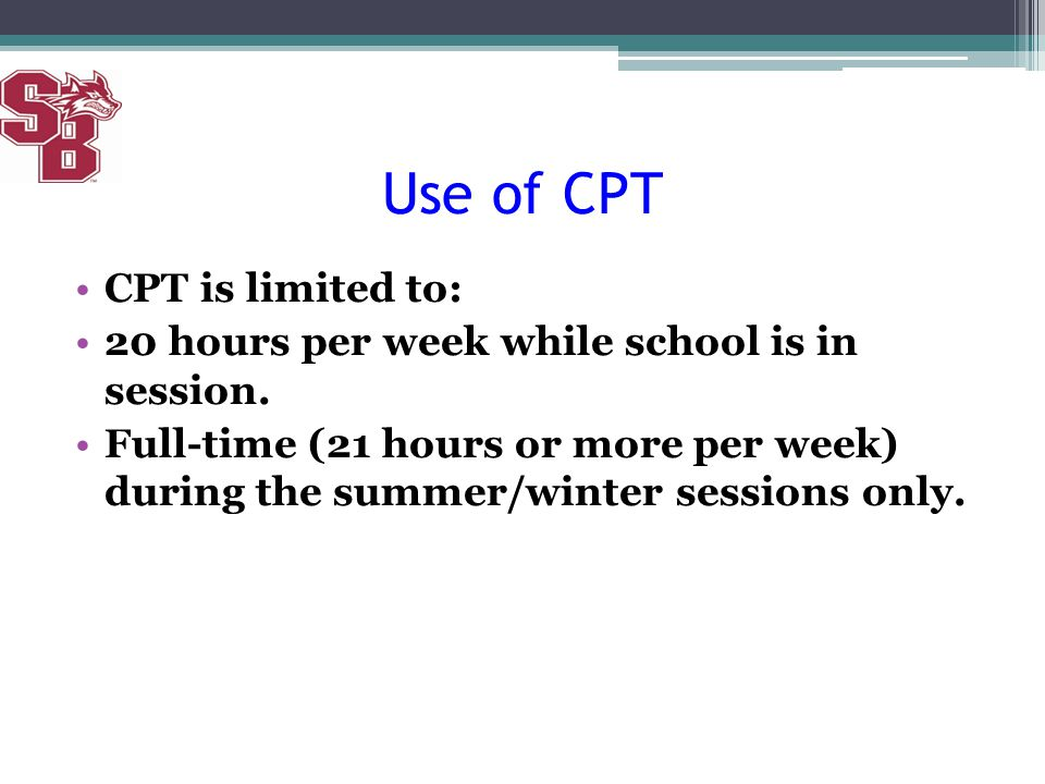 Use of CPT CPT is limited to: