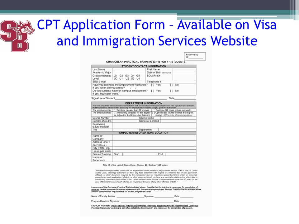CPT Application Form – Available on Visa and Immigration Services Website