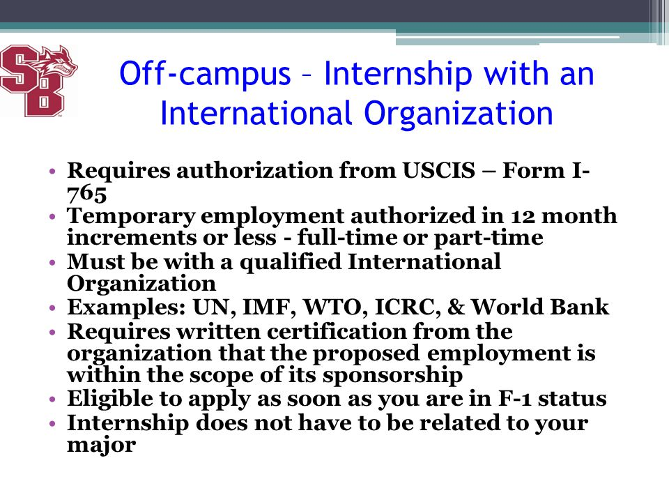 Off-campus – Internship with an International Organization