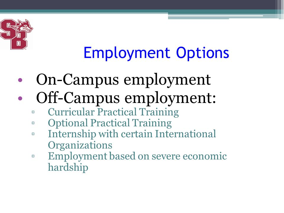Off-Campus employment: