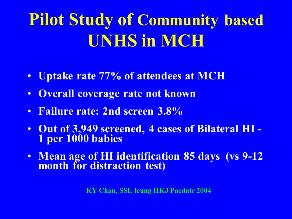 Pilot Study of Community based UNHS in MCH