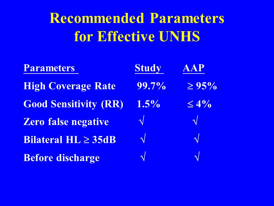 Recommended Parameters for Effective UNHS