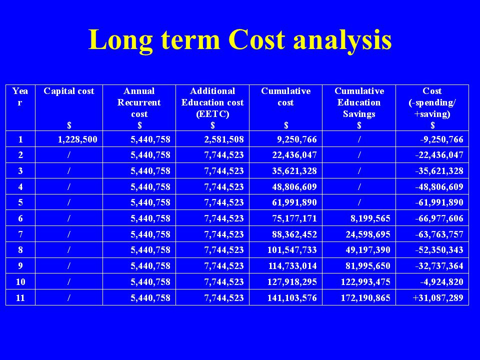 Long term Cost analysis