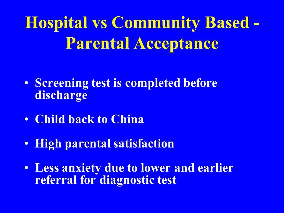 Hospital vs Community Based - Parental Acceptance