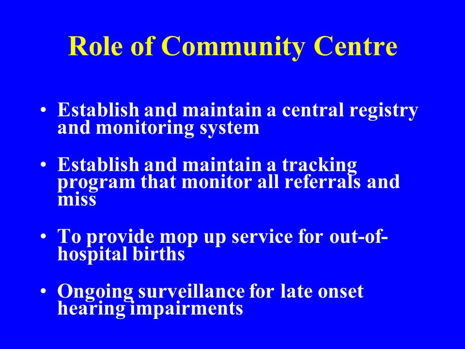 Role of Community Centre