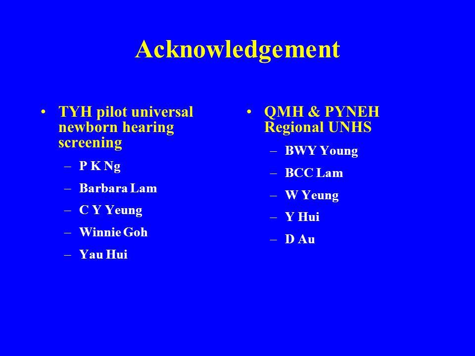 Acknowledgement TYH pilot universal newborn hearing screening