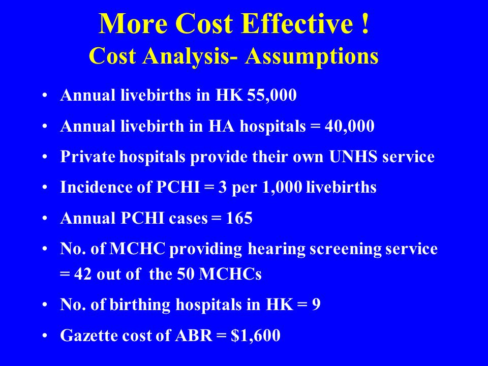 More Cost Effective ! Cost Analysis- Assumptions