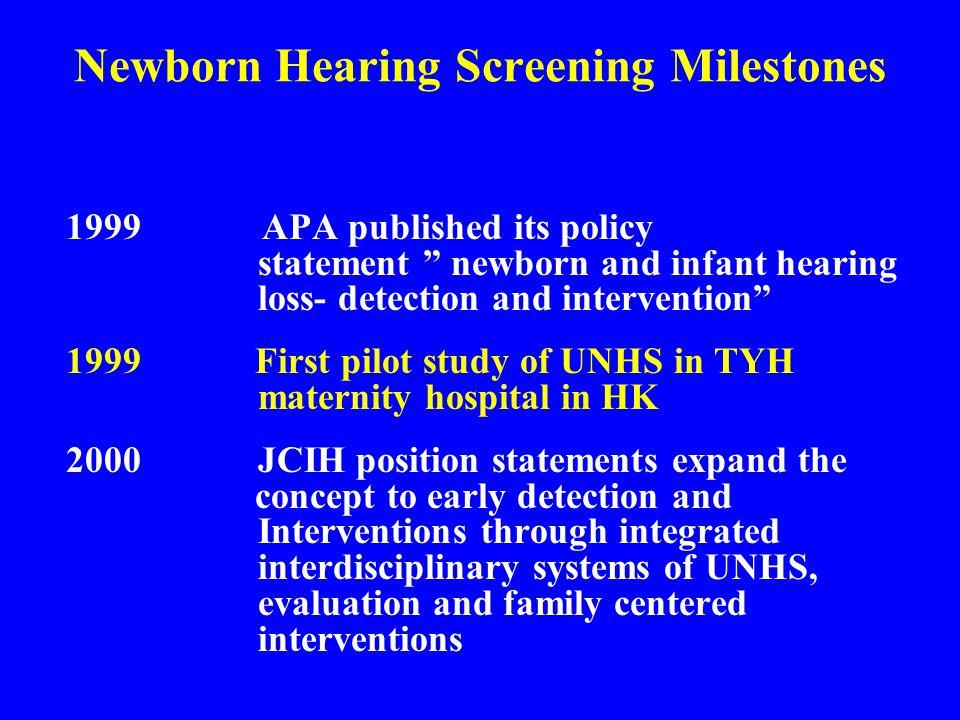 Newborn Hearing Screening Milestones
