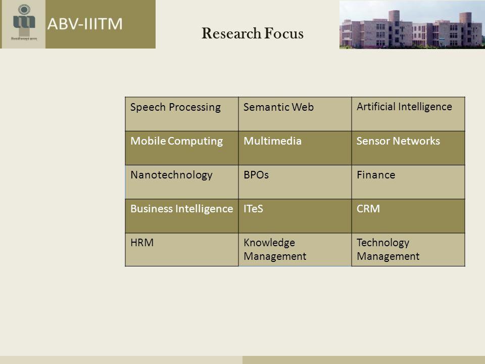 Research Focus Speech Processing Semantic Web Mobile Computing