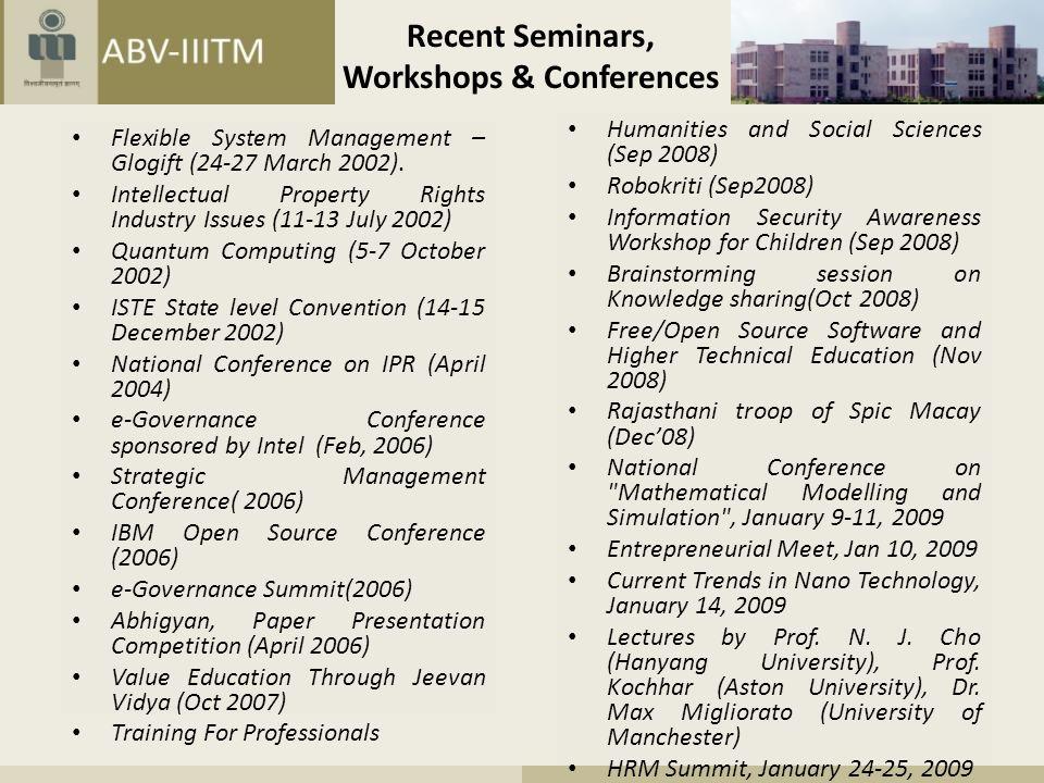 Recent Seminars, Workshops & Conferences