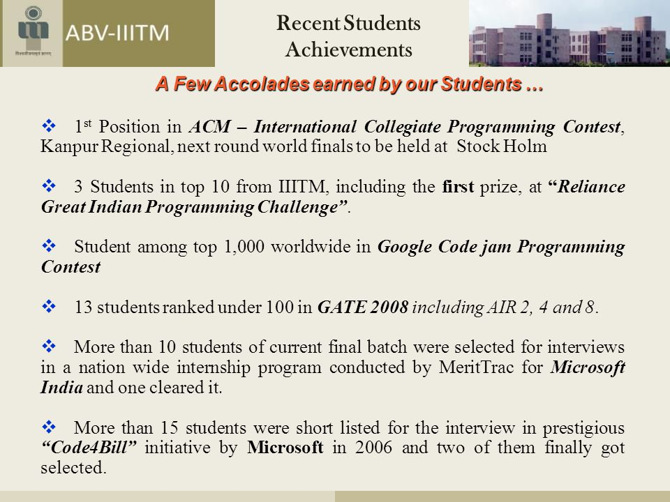 Recent Students Achievements A Few Accolades earned by our Students …