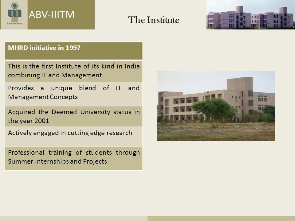 The Institute MHRD initiative in 1997