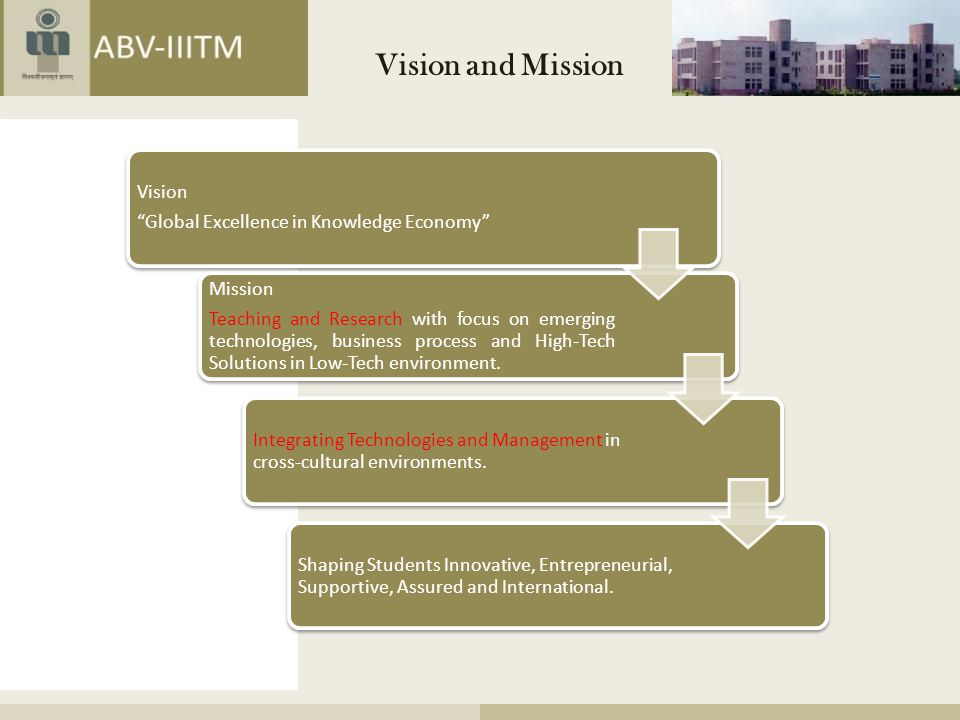 Vision and Mission Mission