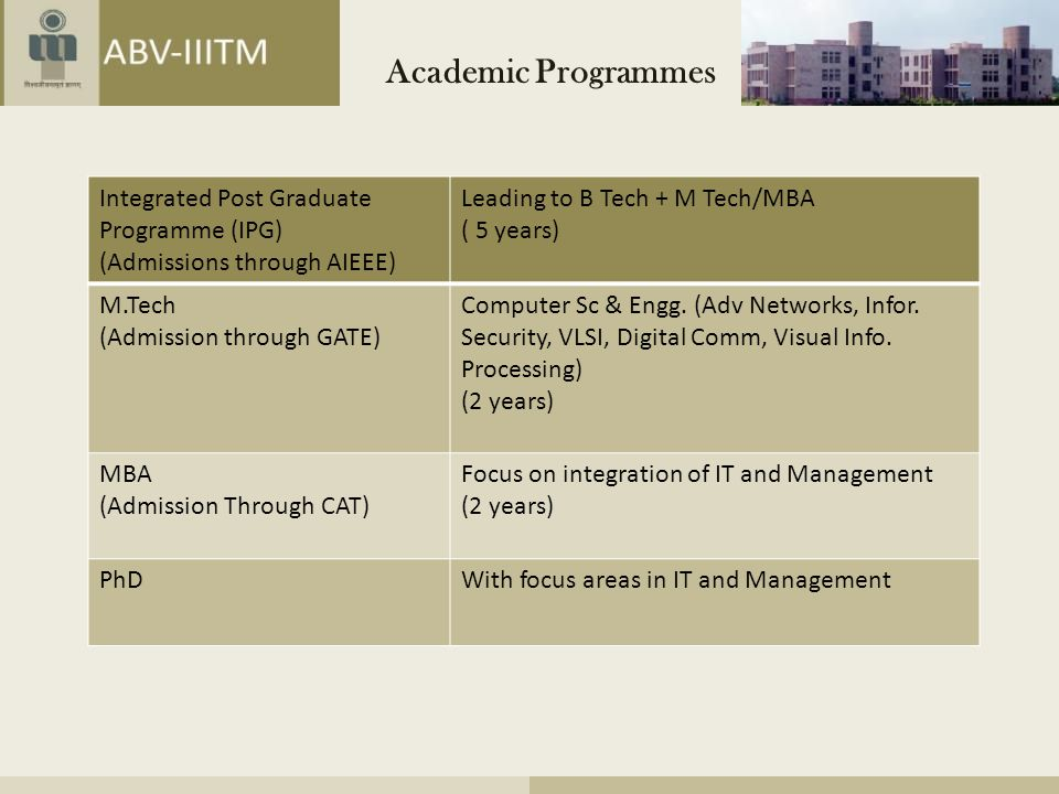 Academic Programmes Integrated Post Graduate Programme (IPG)