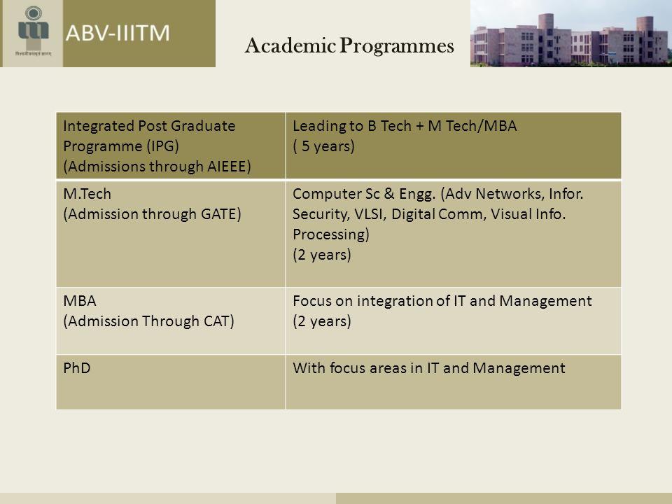 Academic Programmes Integrated Post Graduate Programme (IPG)