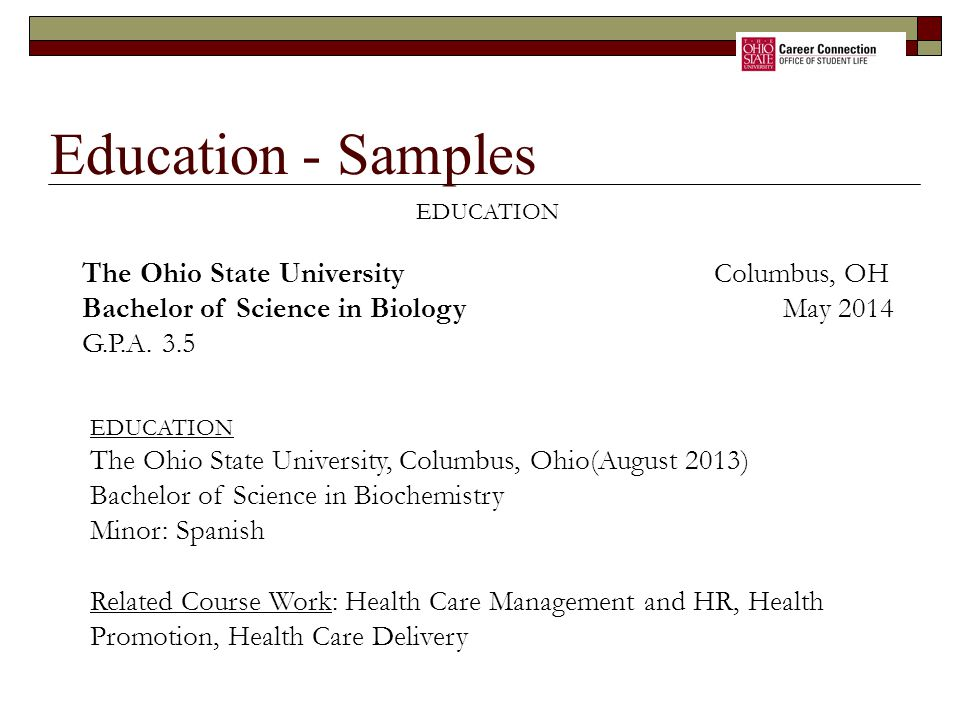 Education - Samples The Ohio State University Columbus, OH