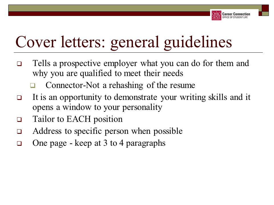 Cover letters: general guidelines
