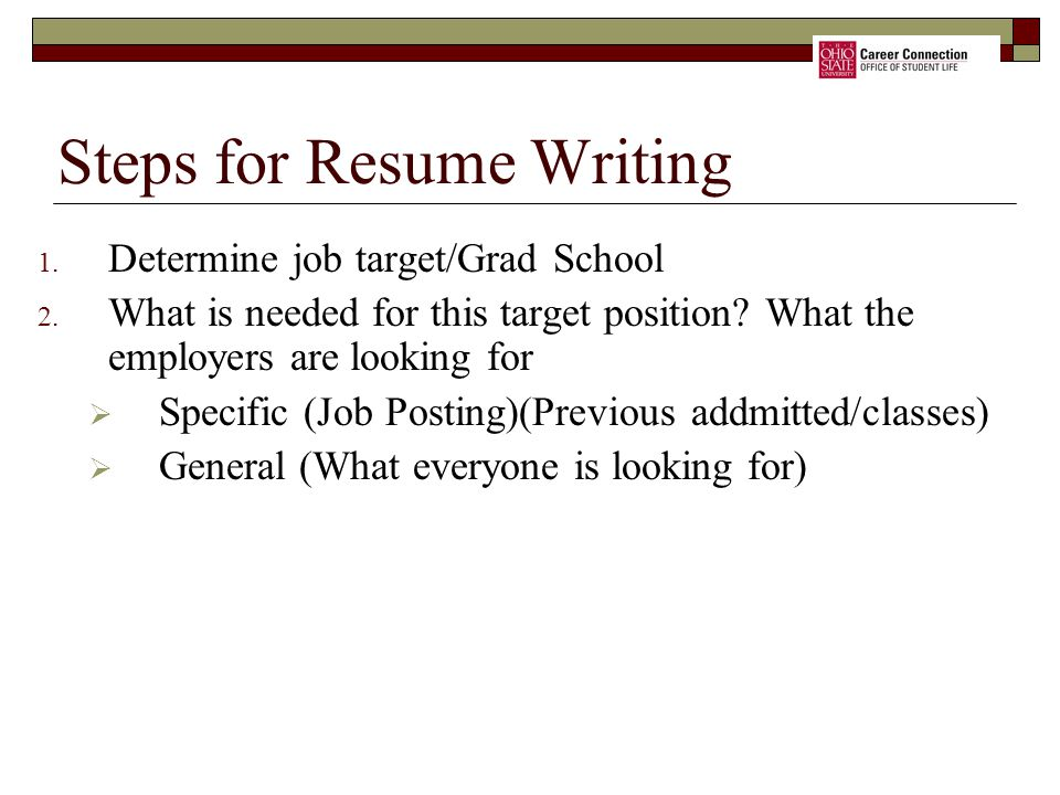 Steps for Resume Writing
