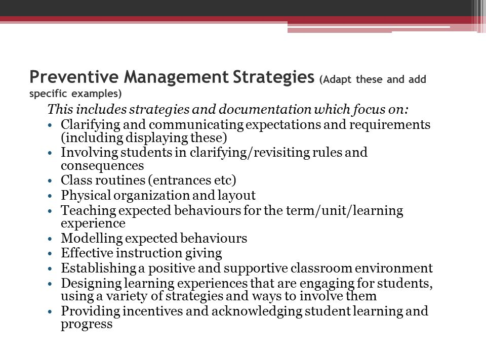 Preventive Management Strategies (Adapt these and add specific examples)