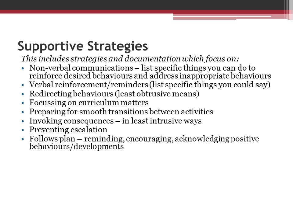 Supportive Strategies
