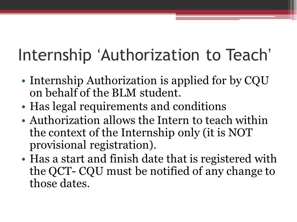 Internship 'Authorization to Teach'