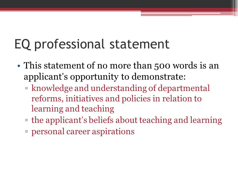 EQ professional statement
