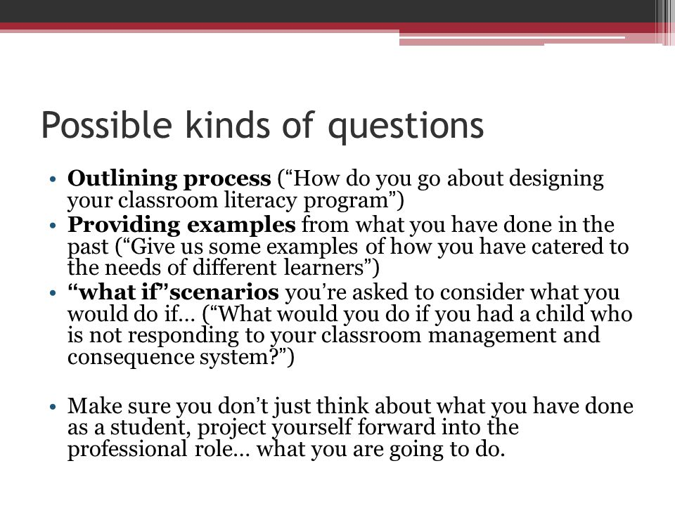 Possible kinds of questions