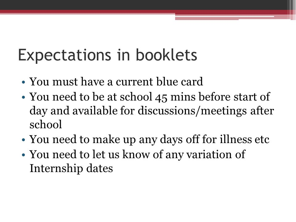 Expectations in booklets