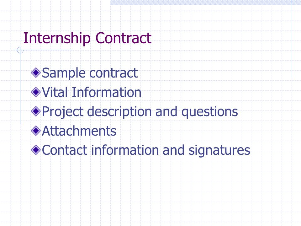 Internship Contract Sample contract Vital Information