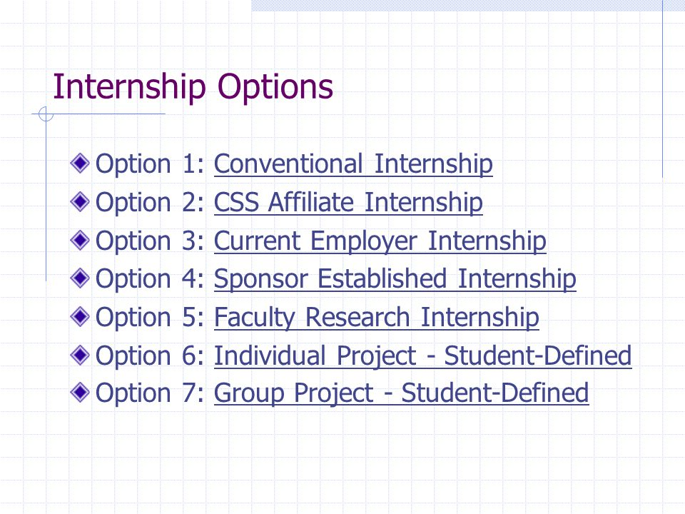 Internship Options Option 1: Conventional Internship