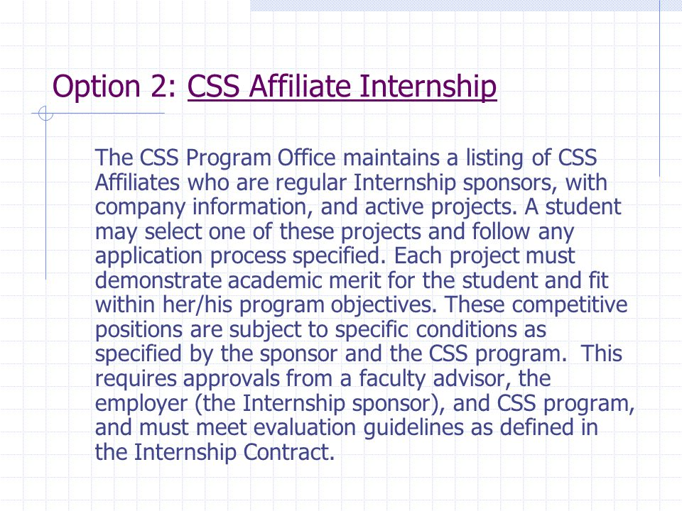 Option 2: CSS Affiliate Internship