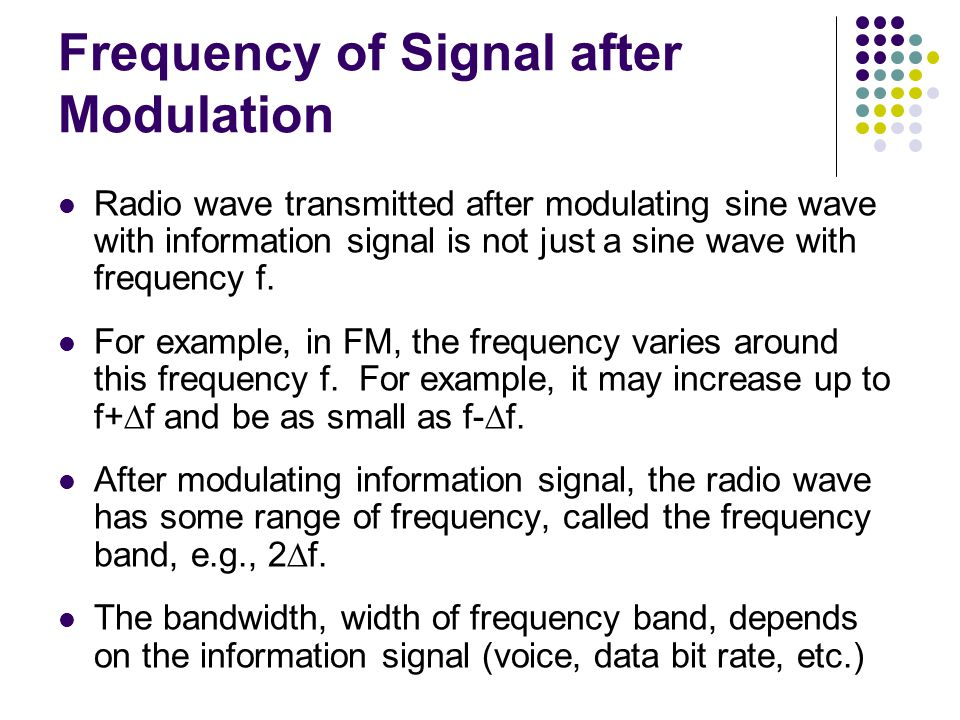 Frequency of Signal after Modulation