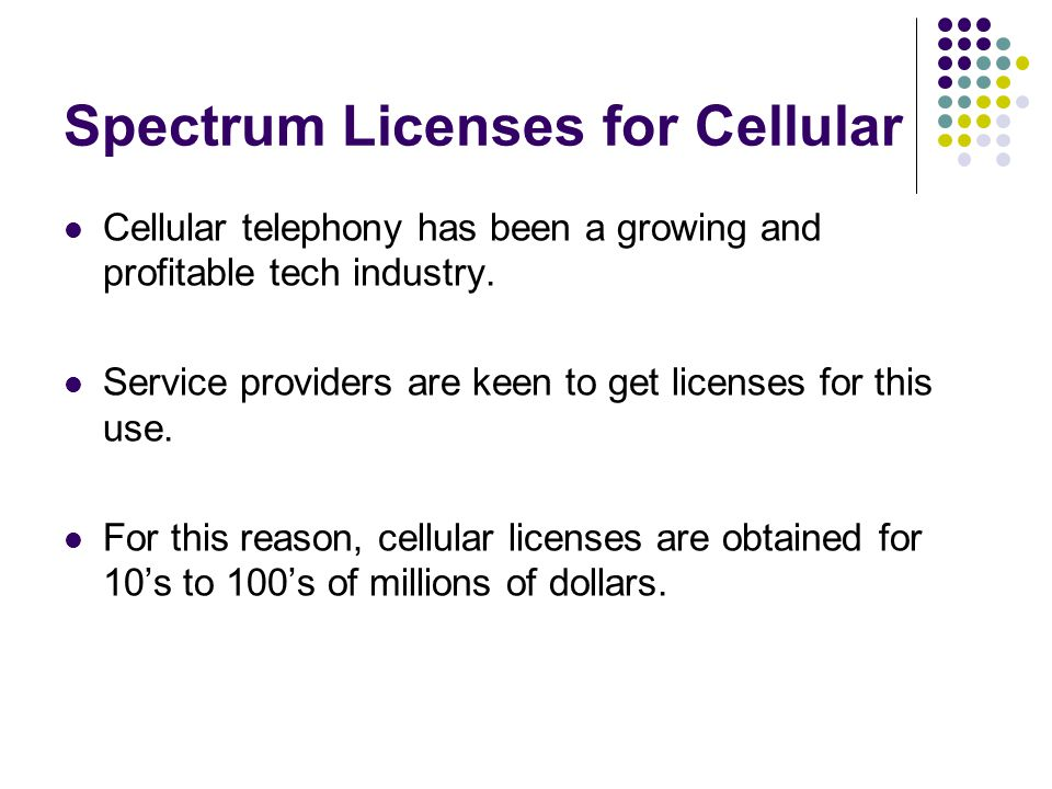 Spectrum Licenses for Cellular