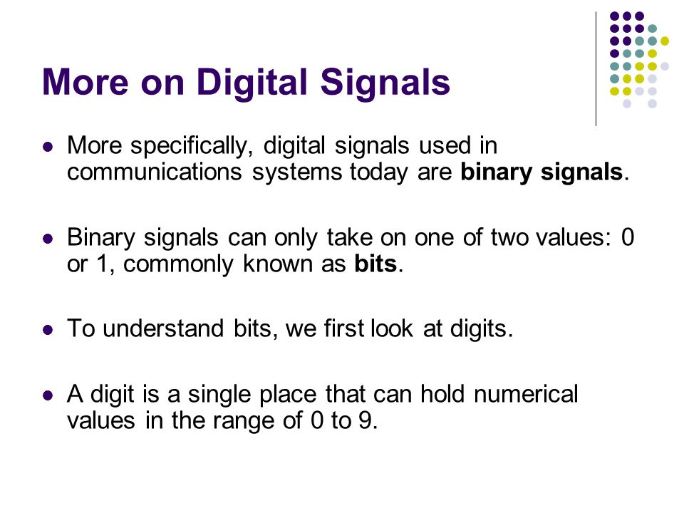 More on Digital Signals