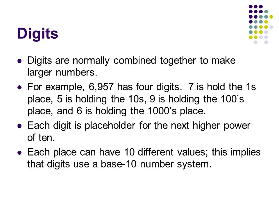 Digits Digits are normally combined together to make larger numbers.