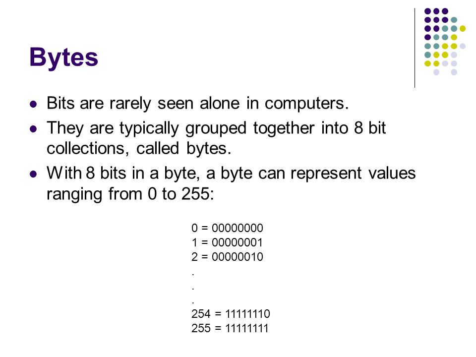 Bytes Bits are rarely seen alone in computers.