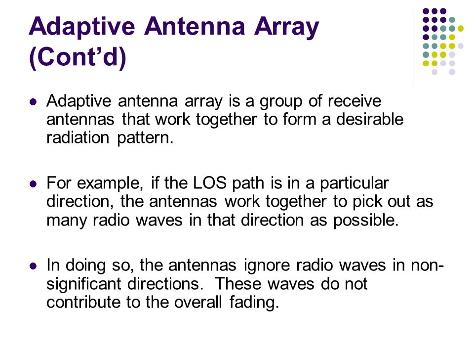 Adaptive Antenna Array (Cont'd)