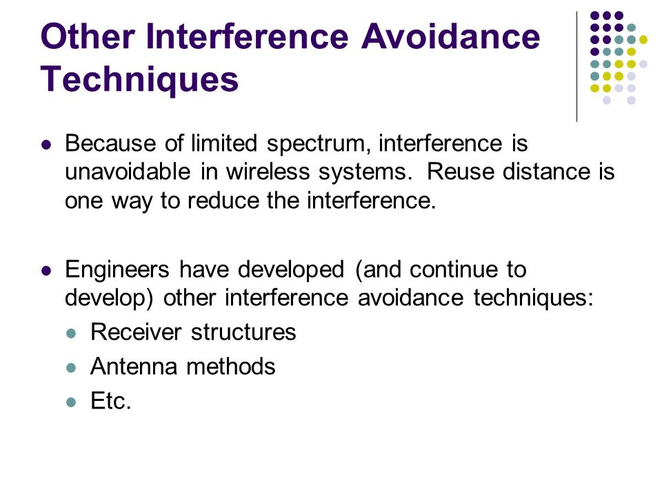 Other Interference Avoidance Techniques